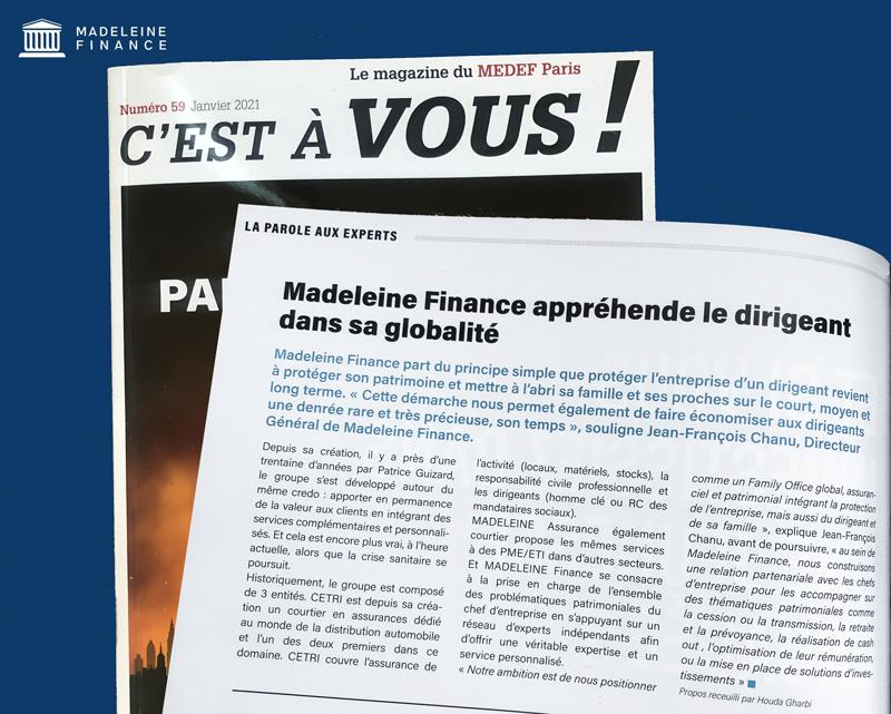 Le MEDEF PARIS donne la parole à MADELEINE FINANCE